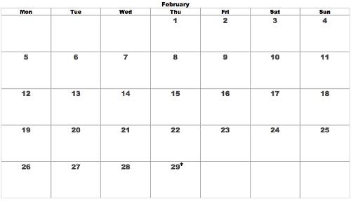 Thursday Leap February