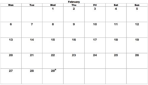 Wednesday Leap February